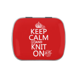 Rectangle Jelly Belly™ Candy Tin with Keep Calm and Knit On design