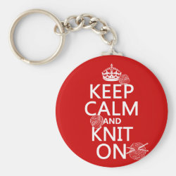 Basic Button Keychain with Keep Calm and Knit On design