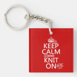 Square Keychain with Keep Calm and Knit On design