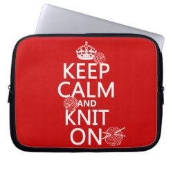 Neoprene Laptop Sleeve 10 inch with Keep Calm and Knit On design