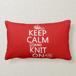 Throw Pillow Lumbar 13' x 21' with Keep Calm and Knit On design