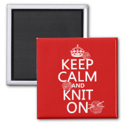 Square Magnet with Keep Calm and Knit On design
