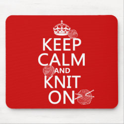 Mousepad with Keep Calm and Knit On design
