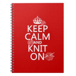 Photo Notebook (6.5' x 8.75', 80 Pages B&W) with Keep Calm and Knit On design