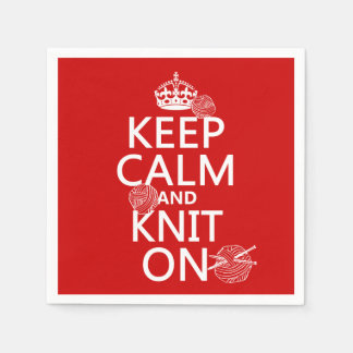 Keep Calm and Knit On - all colors Paper Napkin