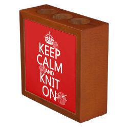 Desk Organizer with Keep Calm and Knit On design