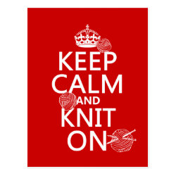 Postcard with Keep Calm and Knit On design