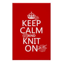 Matte Poster with Keep Calm and Knit On design
