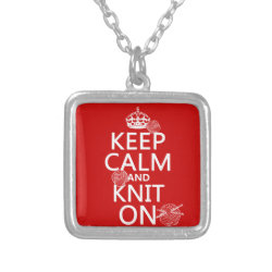 Small Necklace with Keep Calm and Knit On design