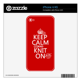 Keep Calm and Knit On - all colors Skin For iPhone 4S