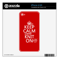 iPhone 4/4S Skin with Keep Calm and Knit On design