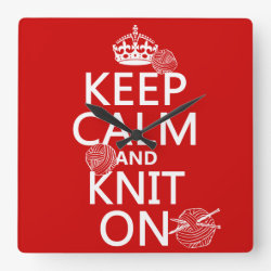 Square Wall Clock with Keep Calm and Knit On design