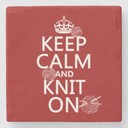 Marble Coaster with Keep Calm and Knit On design