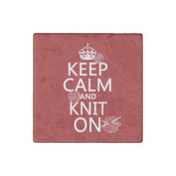 Marble Magnet with Keep Calm and Knit On design