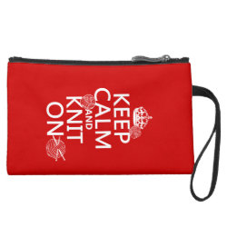 Sueded Mini Clutch with Keep Calm and Knit On design