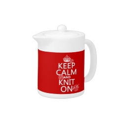 Small Tea Pot with Keep Calm and Knit On design