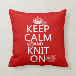 Cotton Throw Pillow with Keep Calm and Knit On design