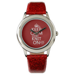 Kid's Red Glitter Strap Watch with Keep Calm and Knit On design