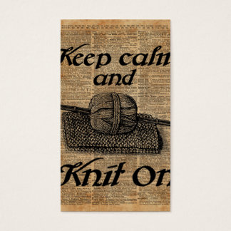 Keep Calm And Knit On Business Card