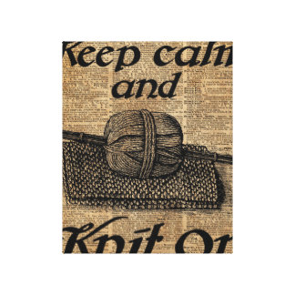 Keep Calm And Knit On Canvas Print