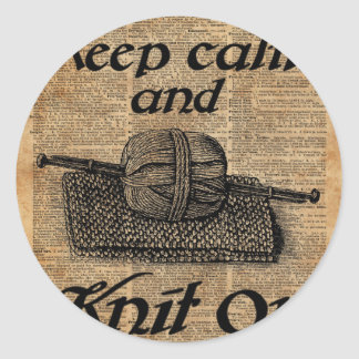 Keep Calm And Knit On Classic Round Sticker