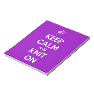 Keep Calm and Knit On Fuchsia Notepad