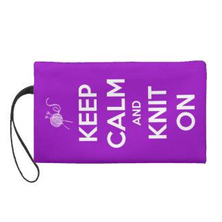 Keep Calm and Knit On Fuschia Wristlet Purse