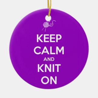 Keep Calm and Knit On Fuschia Ceramic Ornament