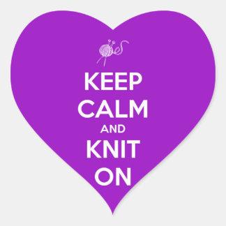 Keep Calm and Knit On Fuschia Heart Sticker