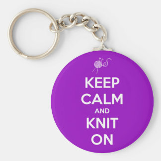 Keep Calm and Knit On Fuschia Basic Round Button Keychain