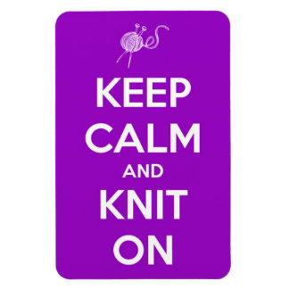 Keep Calm and Knit On Fuschia Magnet