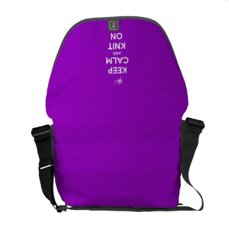 Keep Calm and Knit On Fuschia Messenger Bag