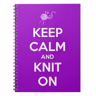 Keep Calm and Knit On Fuschia Notebook