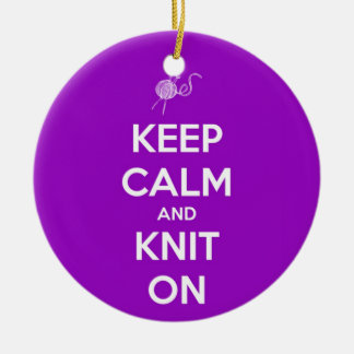 Keep Calm and Knit On Fuschia Ornament