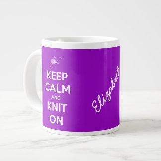 Keep Calm and Knit On Fuschia Personalized Mug 20 Oz Large Ceramic Coffee Mug