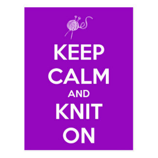 Keep Calm and Knit On Fuschia Post Cards