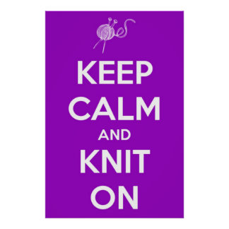 Keep Calm and Knit On Fuschia Poster