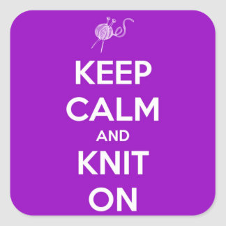 Keep Calm and Knit On Fuschia Square Sticker