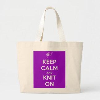 Keep Calm and Knit On Jumbo Tote Bag