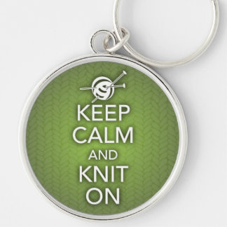 Keep Calm and Knit On Keychain