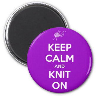 Keep Calm and Knit On Purple Round Magnet