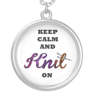 Keep Calm and Knit On Silver Plated Necklace