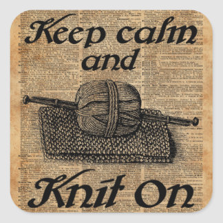 Keep Calm And Knit On Square Sticker