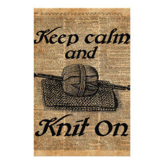 Keep Calm And Knit On Stationery