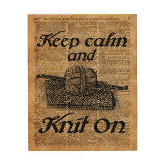 Keep Calm And Knit On Wood Wall Art