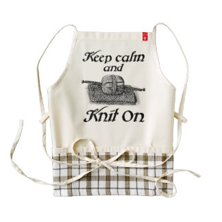Keep Calm And Knit On Zazzle HEART Apron