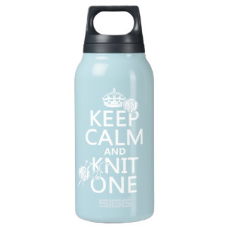 Keep Calm and Knit One - all colours Insulated Water Bottle