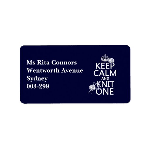 Keep Calm and Knit One - all colours Personalized Address Labels