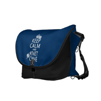Keep Calm and Knit One - all colours Messenger Bags