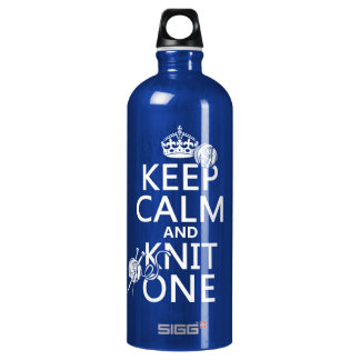 Keep Calm and Knit One - all colours Water Bottle